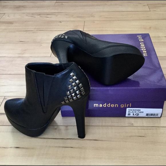 1da46d3fa035 Madden Girl Shoes | Vixxenn Black Studded Platform Booties | Poshmark